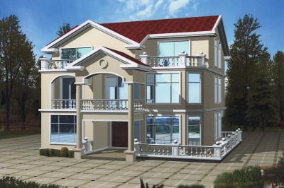 三层带电梯乡村别墅房屋设计图,外观精致、好看