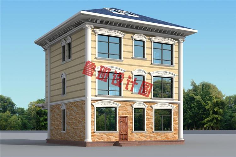 100平米三层农村别墅设计外观图