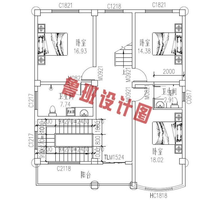 100平米三层农村别墅设计二层户型图