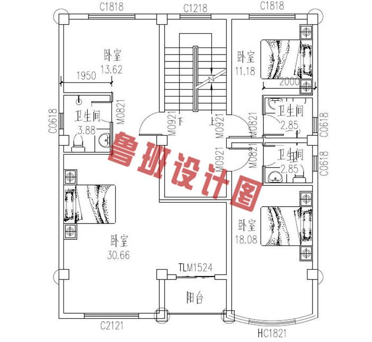 100平米三层农村别墅设计三层户型图