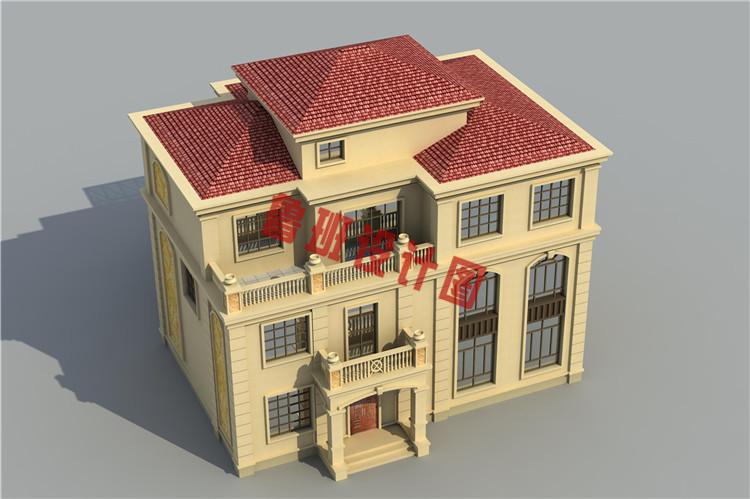 复式三层农村楼房设计鸟瞰图