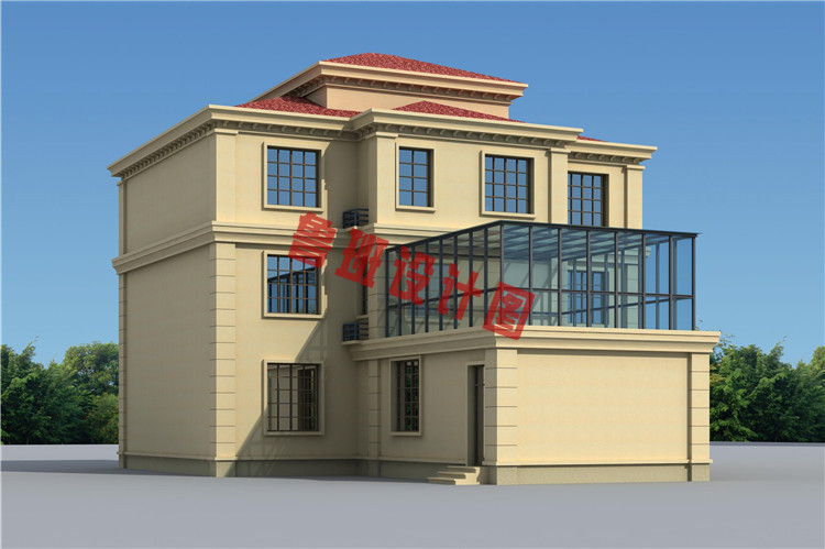复式三层农村楼房设计背面图