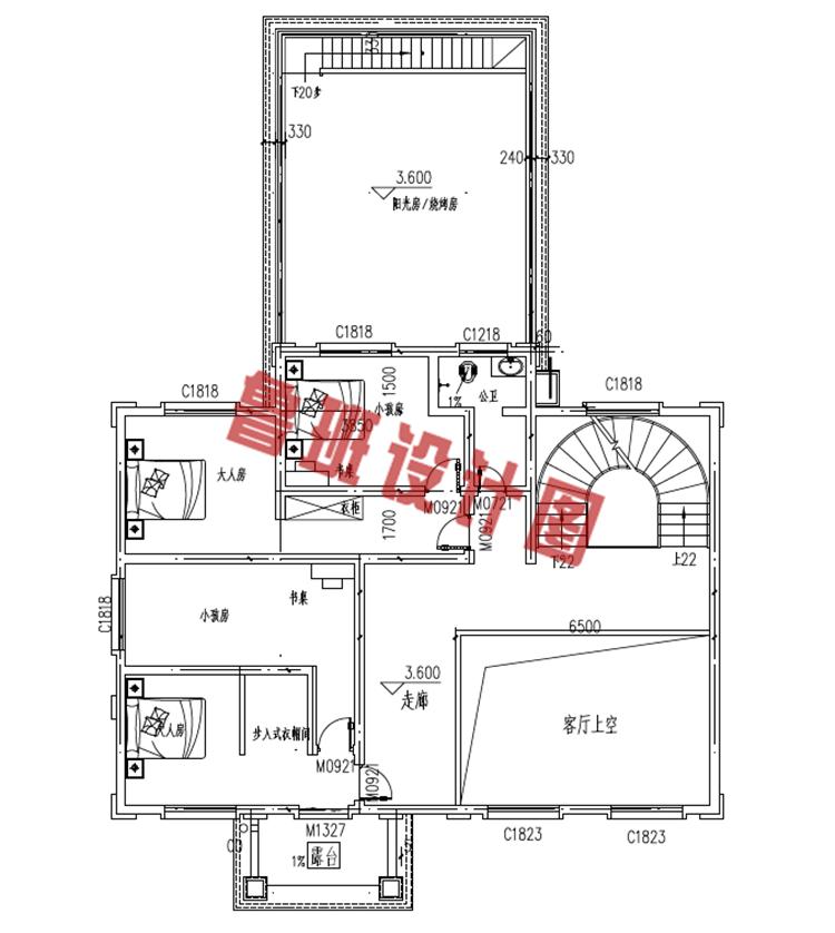 复式三层农村楼房设计二层户型图