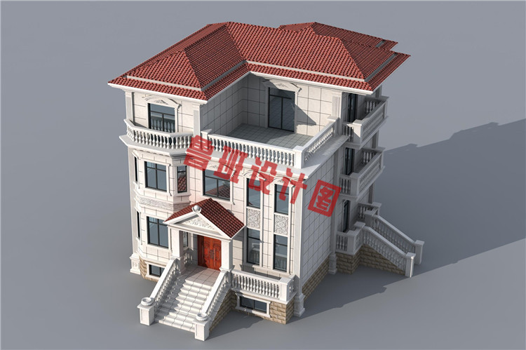 新农村三层楼房设计鸟瞰图