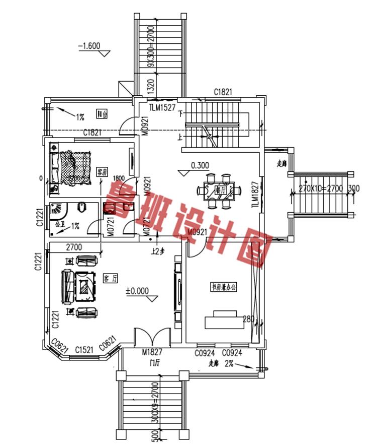 新农村三层楼房设计一层户型图