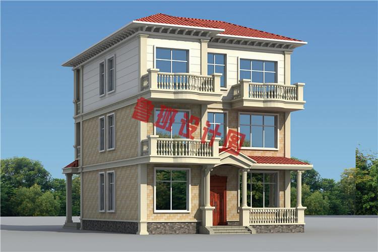 安徽农村二层半小别墅设计图,主体造价40万左右,美观实用接地气