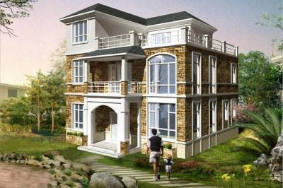 105平欧式三层自建房屋设计图,带外观效果图片
