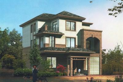 25万新农村三层别墅设计图,带车库,含效果图。