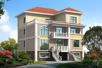 复式三层半别墅设计图,一层可当门面,外观别致新颖