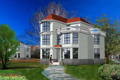 现代简约三层别墅设计图,10.5×12.3米现代风格的造型设计