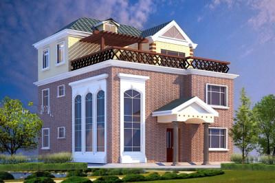 欧式三层别墅自建房屋设计图方案,10.6×12.35米外观设计方正大气
