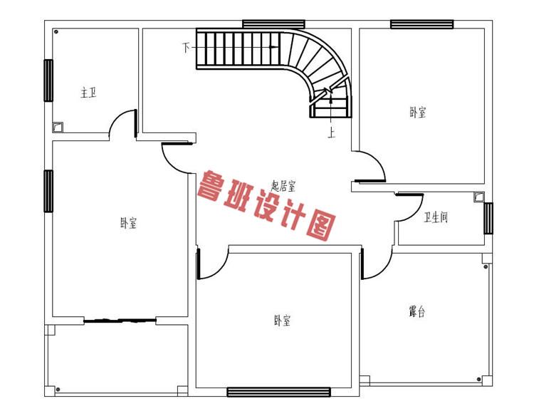 二层半自建房房屋设计二层户型图