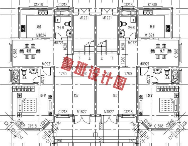 230平(单户115平)三层双拼自建房一层户型图