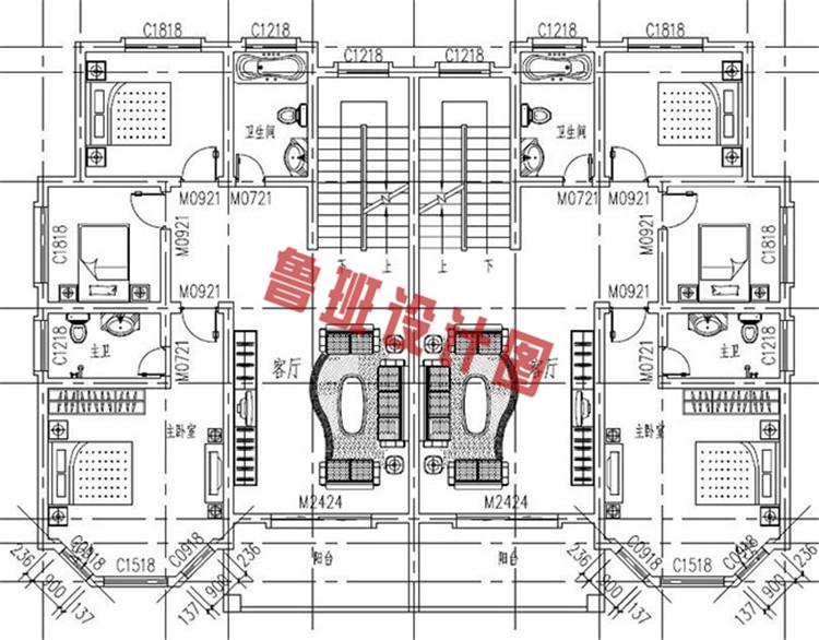 230平(单户115平)三层双拼自建房二层户型图