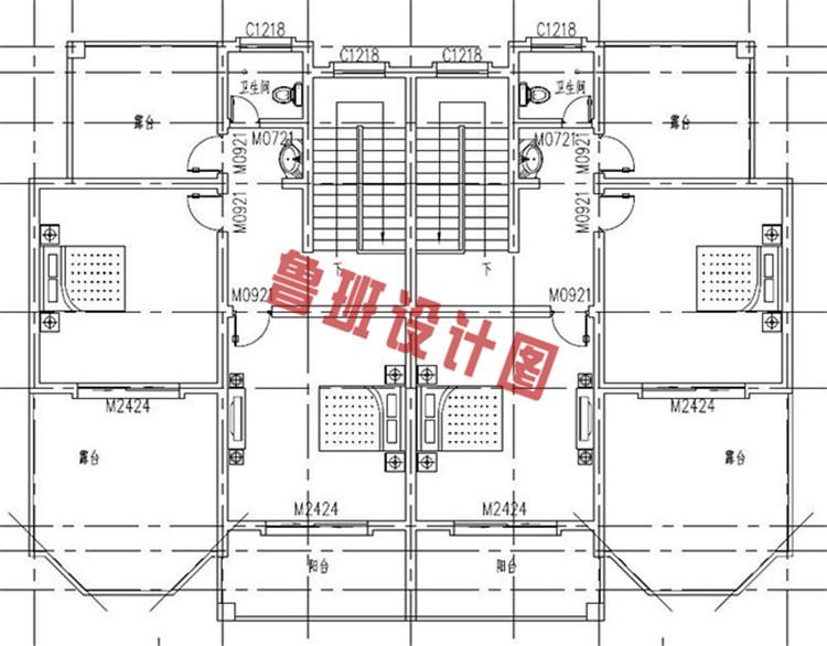 230平(单户115平)三层双拼自建房三层户型图