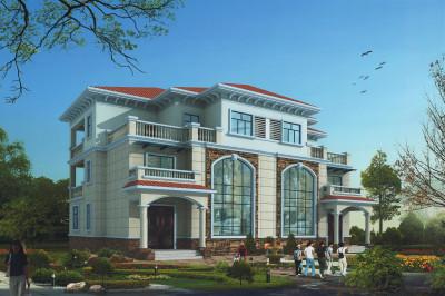 新农村地中海三层双拼别墅设计图,整体给人一种阳光亮丽的观感