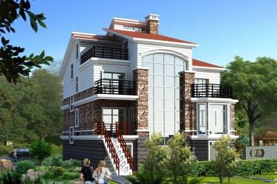 实用农村三层半别墅自建房屋设计图,带架空层