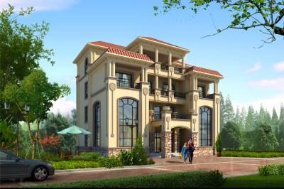 农村四层超大气别墅设计图,经典的欧式外观