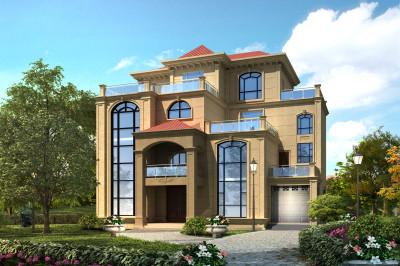 三层半新型农村小楼房设计图,含漂亮的外观效果图。