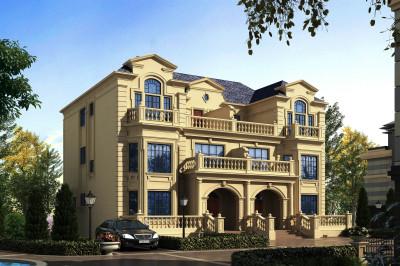240平三层双拼自建房屋推荐设计图,远远看着就是名门世家的范儿