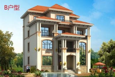 简欧式四层农村别墅房屋设计图,外观豪华大气140平左右