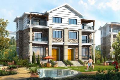 乡村质朴四间三层双拼别墅房屋设计方案,空间安排动静分明