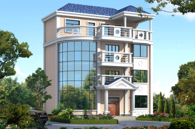 100平左右小户型四层别墅设计图,精美别致造价低,适合农村自建