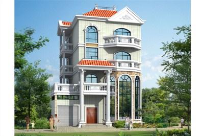 欧式风格四层自建房别墅设计图,130平大气又秀气