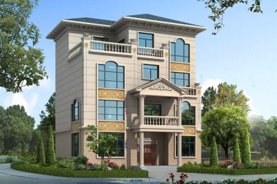 50万高端四层住宅别墅设计图,挑空客厅+落地窗,外观很气派。