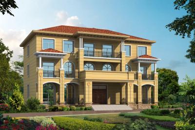共用一层的三层双拼别墅设计图,造型大方又不失华丽,富有时尚