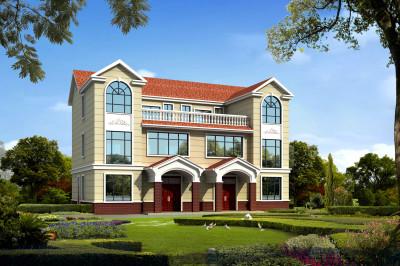 180平兄弟三层双拼别墅设计图,节省占地面积,同时降低主体造价