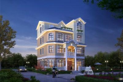 新款简约实用四层欧式自建房别墅设计图,面积适中