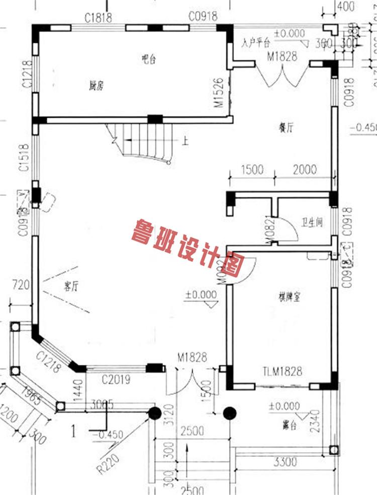 新农村四层别墅楼房设计一层户型图