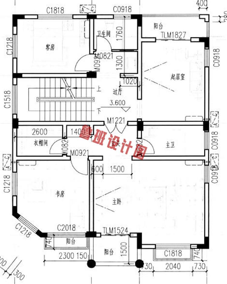 新农村四层别墅楼房设计二层户型图