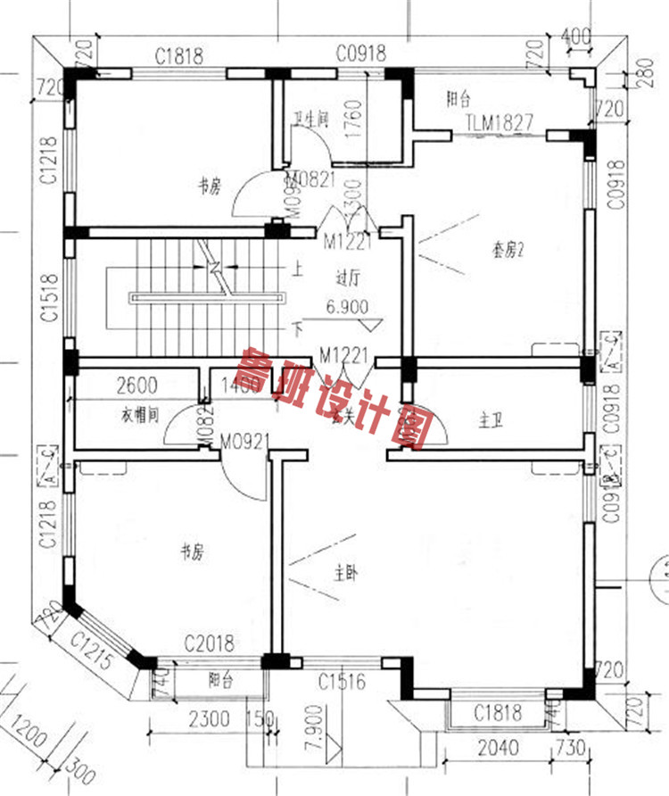 新农村四层别墅楼房设计三层户型图