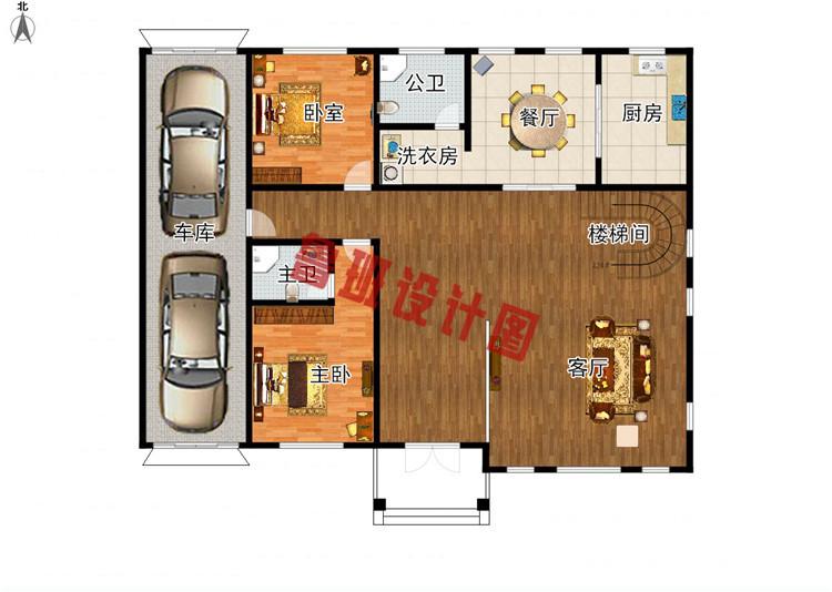 挑空客厅四层别墅设计一层户型图