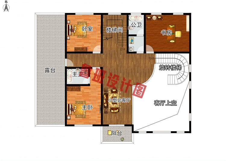 挑空客厅四层别墅设计二层户型图