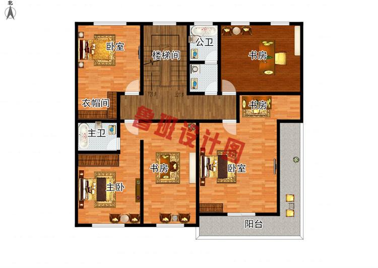 挑空客厅四层别墅设计三层户型图