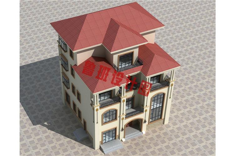新农村四层复式小楼设计鸟瞰图