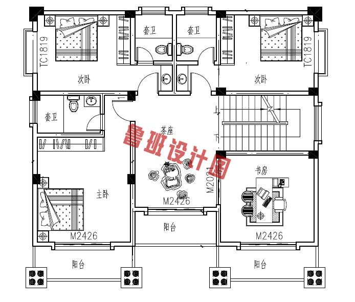 新农村四层复式小楼设计三层户型图