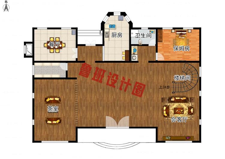 260平大户型四层别墅设计一层户型图