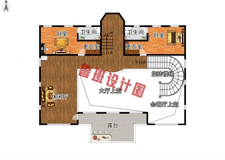 260平大户型四层别墅设计二层户型图