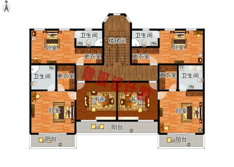 260平大户型四层别墅设计三层户型图