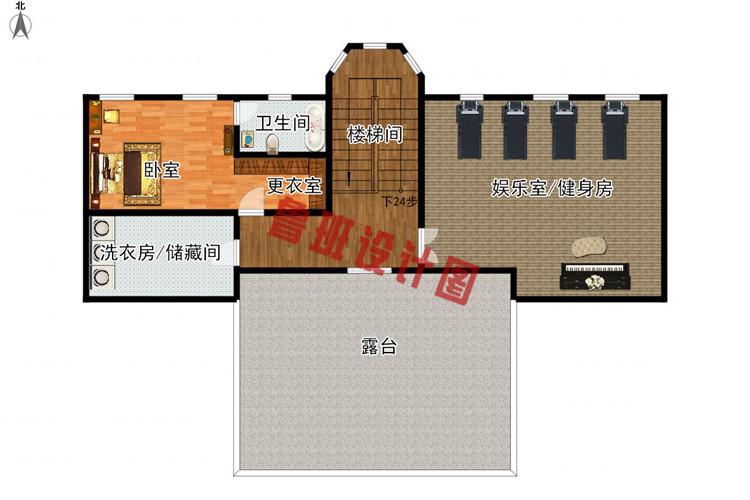 260平大户型四层别墅设计四层户型图
