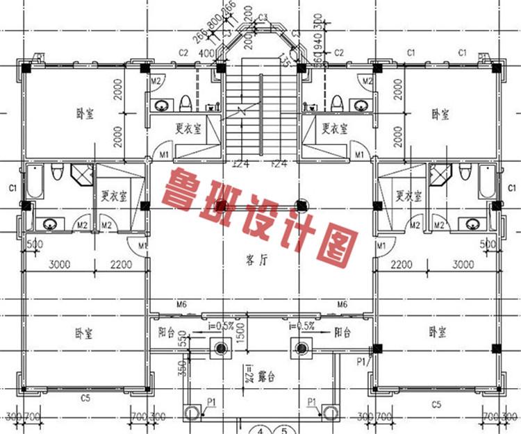 欧式四层别墅设计二层户型图