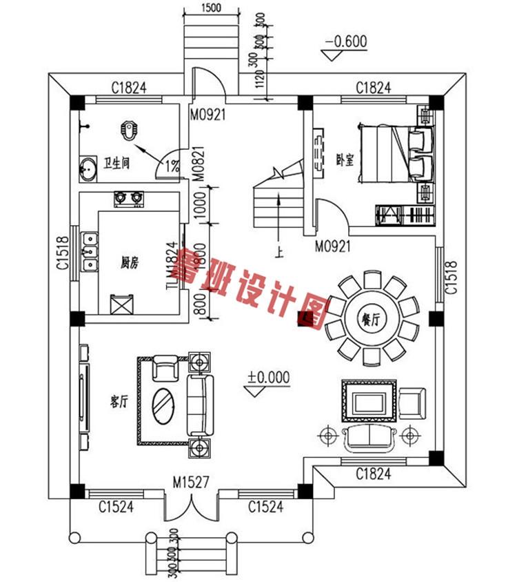 农村四层别墅洋楼设计一层户型图