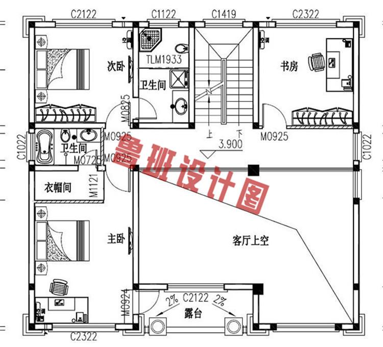 农村四层复式楼房设计二层户型图