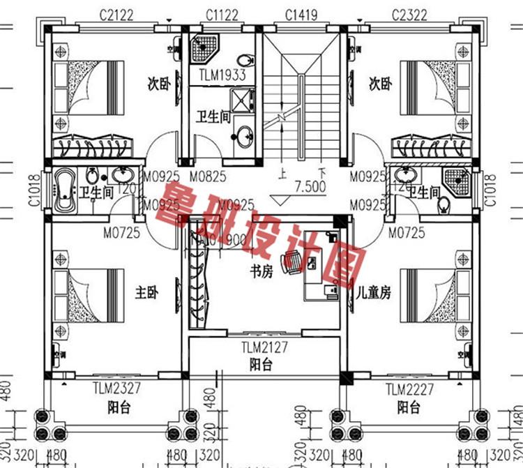 农村四层复式楼房设计三层户型图