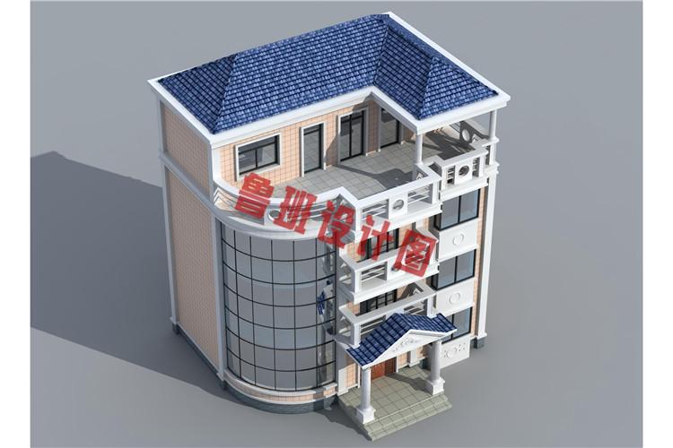 小户型四层别墅设计鸟瞰图