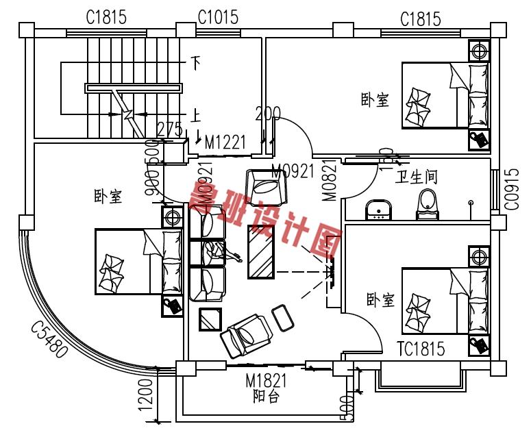 小户型四层别墅设计三层户型图